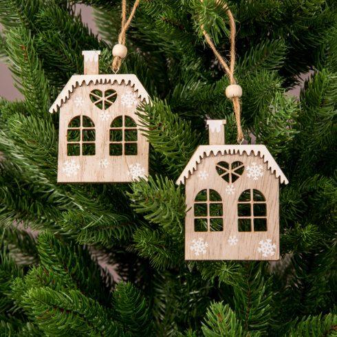 Karácsonyfadísz 7.5 x 9cm - 2db. Házikó