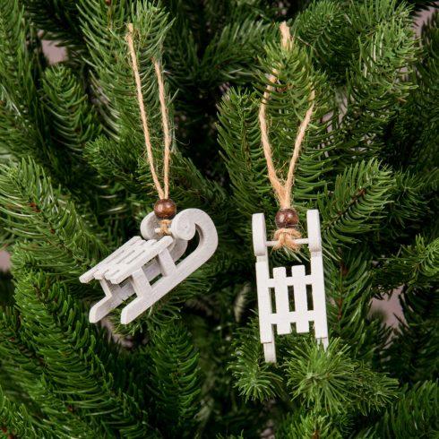 Karácsonyfadísz 2.8 x 6.2cm - 2db. fehér szánkó