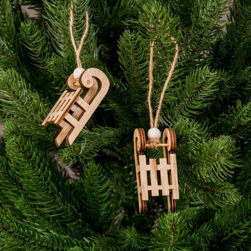 Karácsonyfadísz 2.8 x 6.2cm - 2db. natúr szánkó