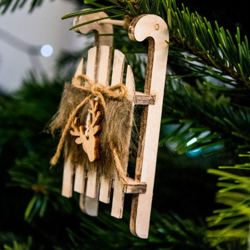 Christmas hanger 12 x 5cm - 2pcs. Sledge with fur
