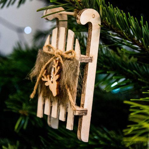 Karácsonyfadísz 12 x 5cm - 2db. szőrmés szánkó