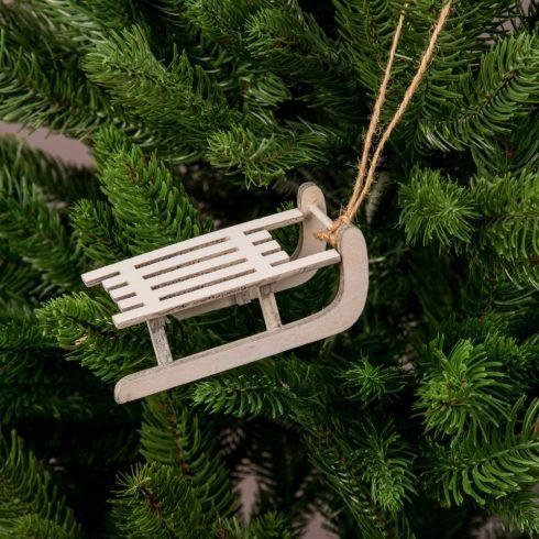Karácsonyfadísz 9 x 5cm - Fehér szánkó