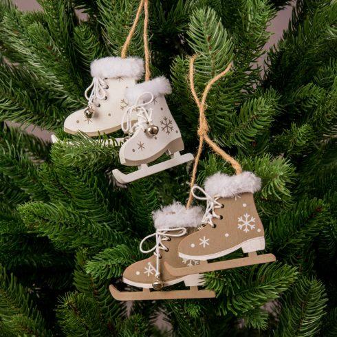 Karácsonyfadísz 8 x 6.5cm - 4 pár korcsolya