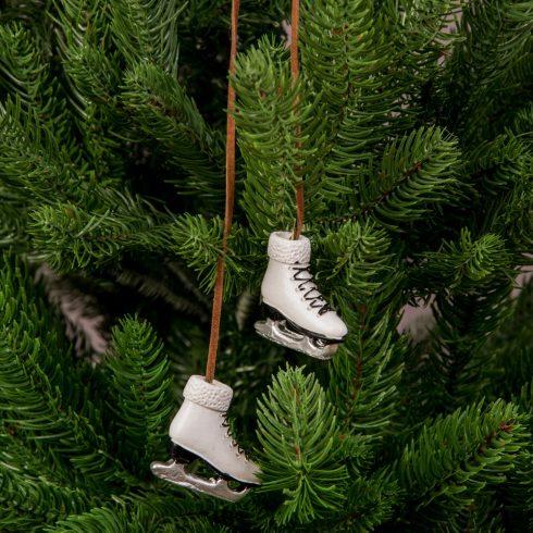Karácsonyfadísz 4 x 3.5cm - 2db. fehér korcsolya