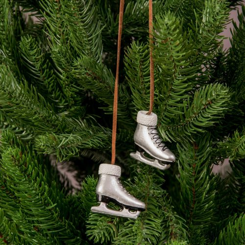 Karácsonyfadísz 4 x 3.5cm - 2db. ezüst korcsolya