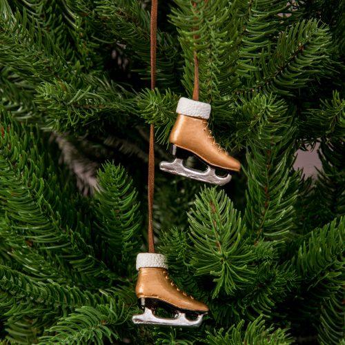 Karácsonyfadísz 4 x 3.5cm - 2db. arany korcsolya