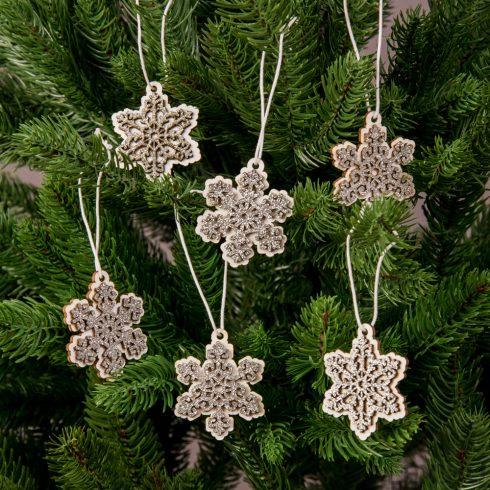 Karácsonyfadísz 4.5 x 4.5cm - 6db. glitteres hópihe
