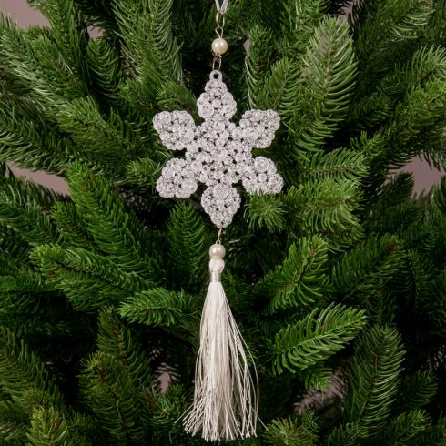 Karácsonyfadísz 10 x 10 x 30cm - Bolyhos hópihe