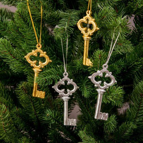 4db. kulcs karácsonyfadísz 7.5cm
