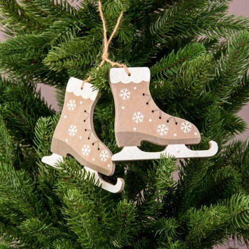 1 pár korcsolya karácsonyfadísz 9 x 11cm