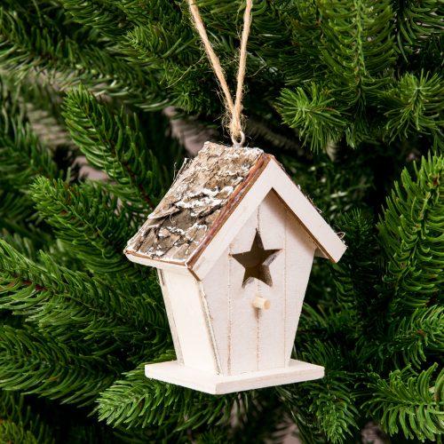Téli házikó karácsonyfadísz 8 x 9cm