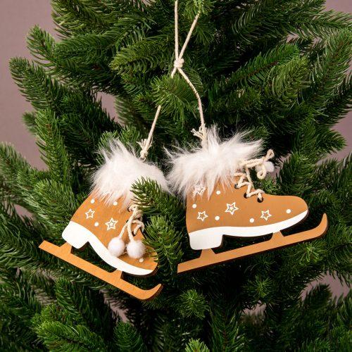 1 pár szőrmés korcsolya karácsonyfadísz 12.5 x 10cm