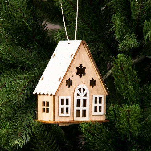 Ledes, glitteres házikó karácsonyfadísz 8.6 x 10cm - Natúr