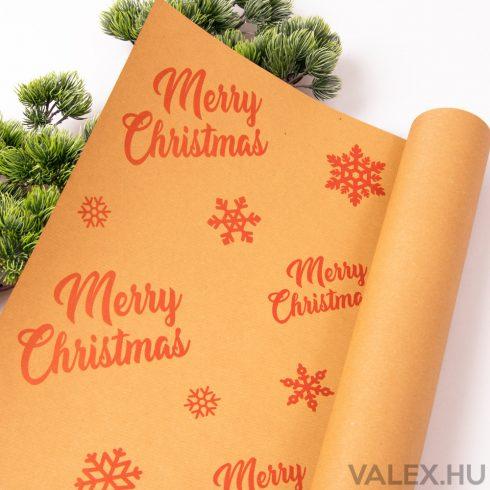 "Piros ""Merry Christmas"" feliratos kraft papír 61 x 43cm (20db.)"