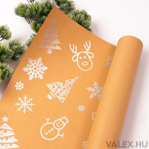Ezüst fenyőfás kraft papír 61 x 43cm (20db.)