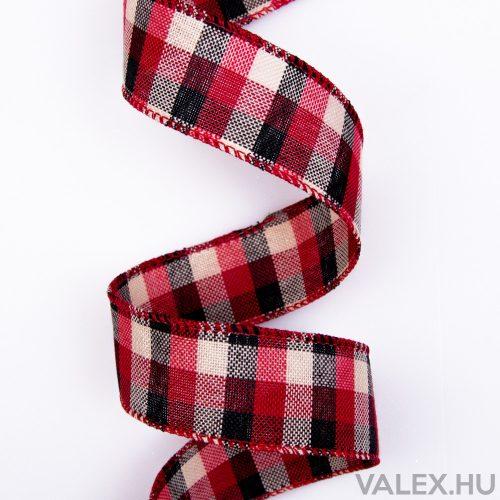 Krém, fekete, piros kockás szalag drótos szegéllyel 38mm x 9.1m