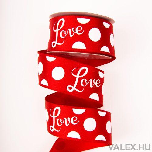 """""""Love"""" feliratos prémium szatén szalag drótos szegéllyel 38mm x 6.4m - Piros"""