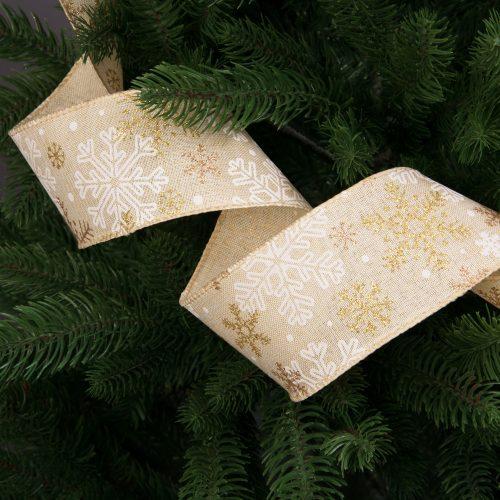 Hópelyhes karácsonyi szalag drótos szegéllyel 63mm x 9.1m - Bézs