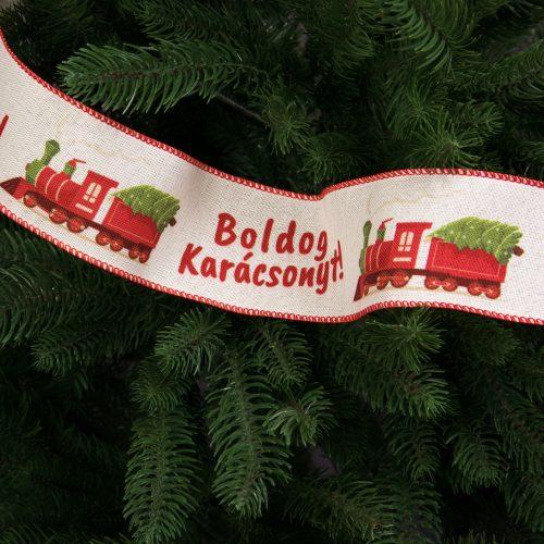 """""""Boldog Karácsonyt!"""" feliratos,  mozdonyos vászon szalag drótos szegéllyel 63mm x 9.1m"""