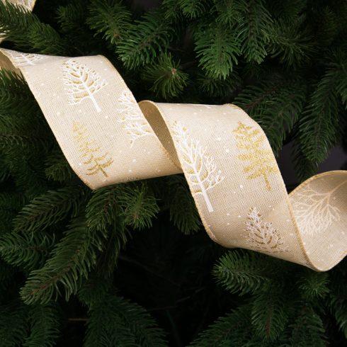 Téli táj mintás karácsonyi szalag drótos szegéllyel 63mm x 9.1m - Bézs
