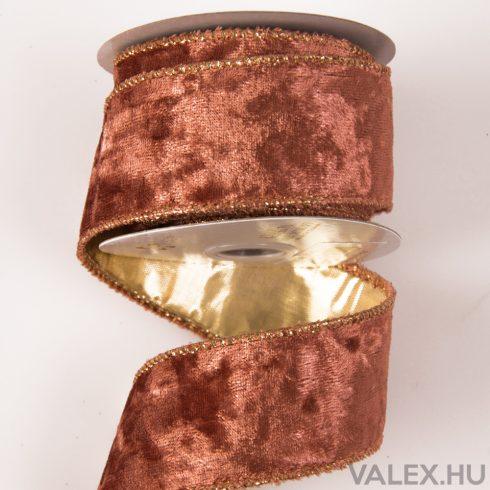 Exkluzív bársony szalag drótos szegéllyel 38mm x 6.4m - Rose Gold
