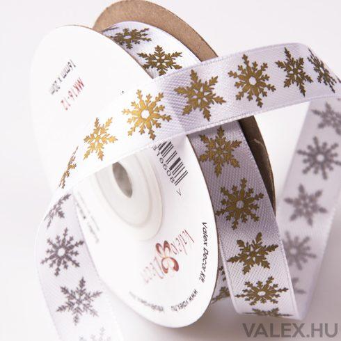 Arany metál hópelyhes karácsonyi szatén szalag 16mm x 20m - Fehér