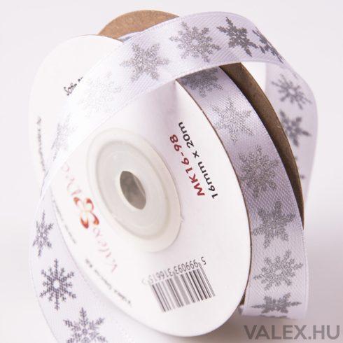 Ezüst metál hópelyhes karácsonyi szatén szalag 16mm x 20m - Fehér