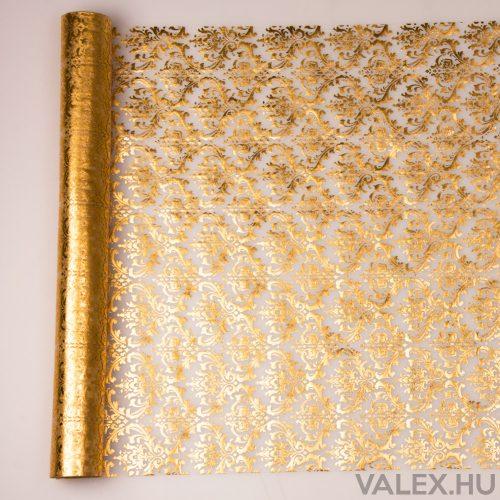 Organza 39cm x 9.1m - Arany barokk mintás