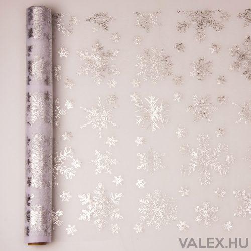 Karácsonyi organza 39cm x 9.1m - Metál ezüst hópelyhes