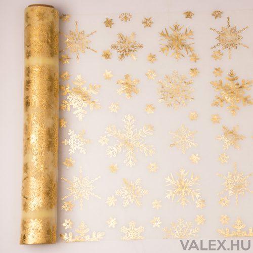 Karácsonyi organza 39cm x 9.1m - Metál arany hópelyhes