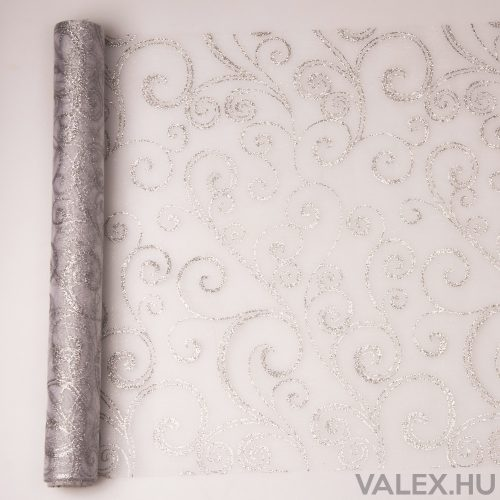 Organza 39cm x 9.1m - Glitter indás - Fehér