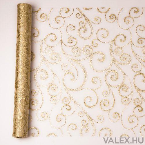 Organza 39cm x 9.1m - Arany glitter indás - Krém