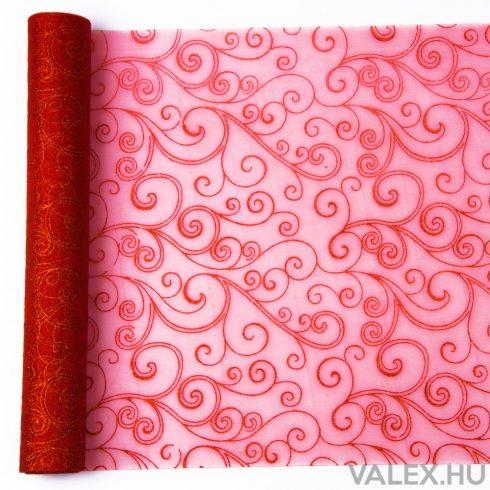 Organza 39cm x 9.1m - Piros glitter indás