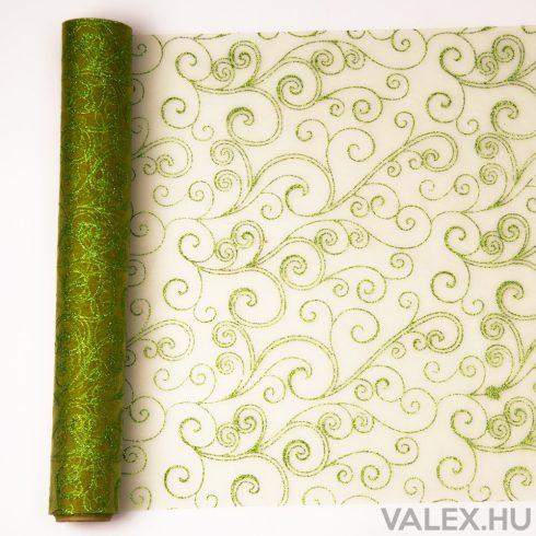 Organza 39cm x 9.1m - Zöld glitter indás