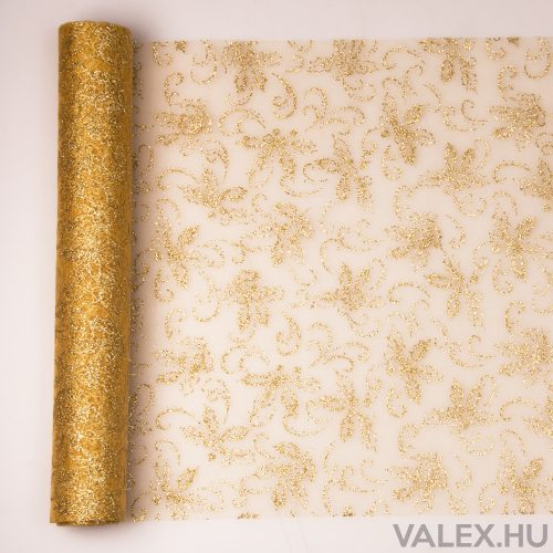 Karácsonyi organza 39cm x 9.1m - Arany Ilex mintás