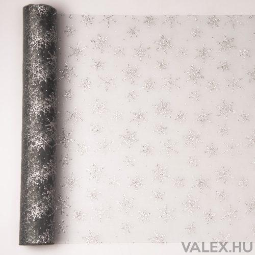 Karácsonyi organza 39cm x 9.1m - Glitter hópelyhes - Ezüst