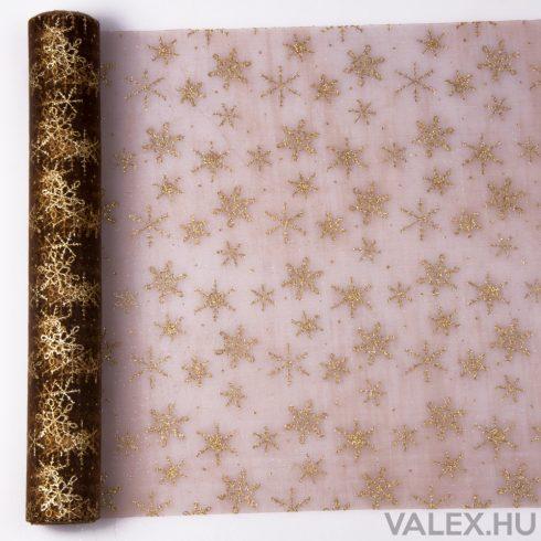 Karácsonyi organza 39cm x 9.1m - Glitter hópelyhes - Barna