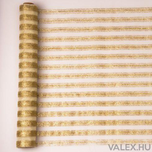 Arany glitter csíkos organza, krém alapszínnel 39cm x 9.1m
