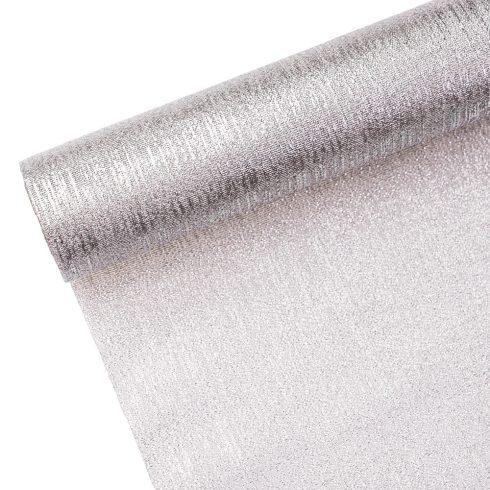 Metál szövet 36cm x 5m - Ezüst