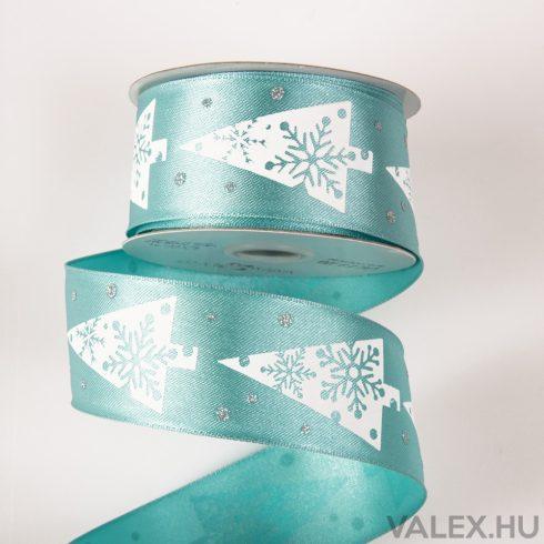 Fenyőfás karácsonyi szatén szalag drótos szegéllyel 38mm x 6.4m - Türkizkék