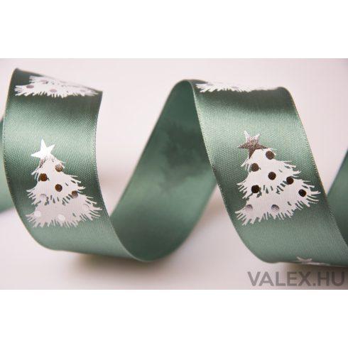 Fenyőfás karácsonyi szatén szalag drótos szegéllyel 38mm x 6.4m - Zöld