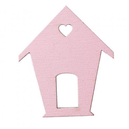 4db. festett fa madárház 6 x 7cm - Rózsaszín