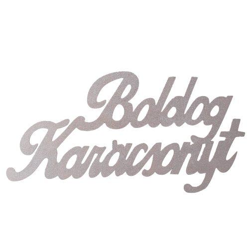 """Óriás """"Boldog Karácsonyt"""" 2 oldalon festett fa felirat 30 x 15cm - Ezüst"""
