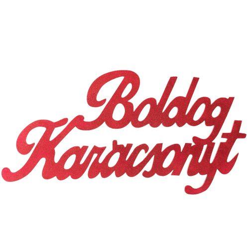 """Óriás """"Boldog Karácsonyt"""" 2 oldalon festett fa felirat 30 x 15cm - Piros"""