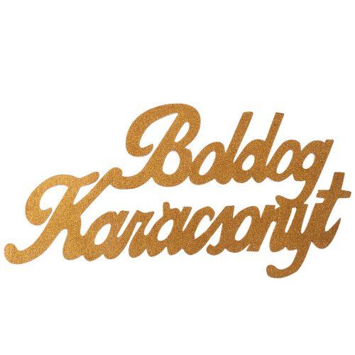 """Óriás """"Boldog Karácsonyt"""" 2 oldalon festett fa felirat 30 x 15cm - Arany"""