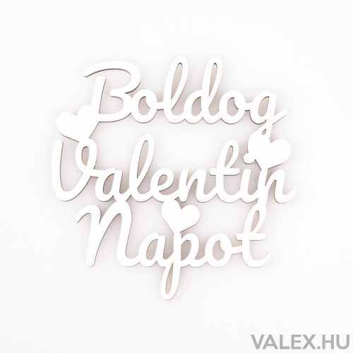 """2 db. """"Boldog Valentin napot"""" felirat 10 x 10cm - Fehér"""