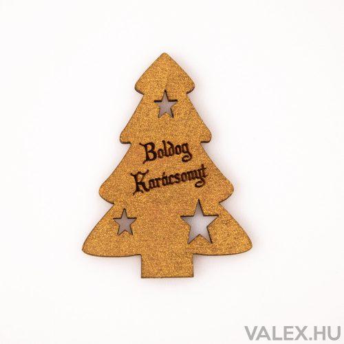 """4 db. fenyőfa """"Boldog Karácsonyt!"""" felirattal  6 x 8cm - Arany"""