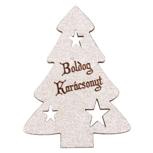 """4 db. fenyőfa """"Boldog Karácsonyt!"""" felirattal  6 x 8cm - Ezüst"""