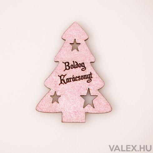 """4 db. fenyőfa """"Boldog Karácsonyt!"""" felirattal  6 x 8cm - Rose Gold"""