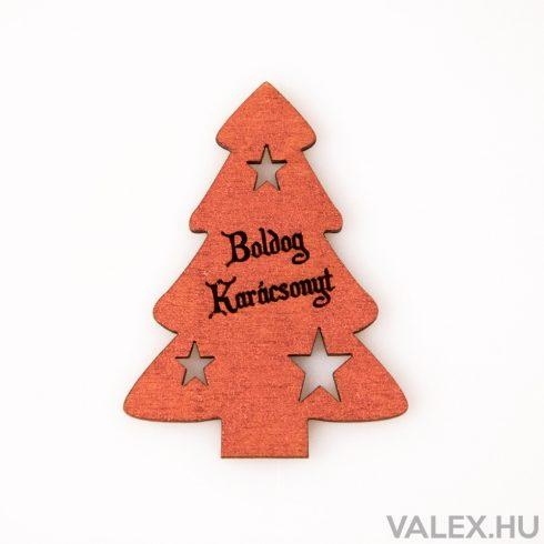"""4 db. fenyőfa """"Boldog Karácsonyt!"""" felirattal  6 x 8cm - Réz színű"""